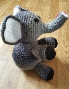 Grey crochet elephant